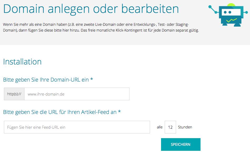 Recolize Domain anlegen