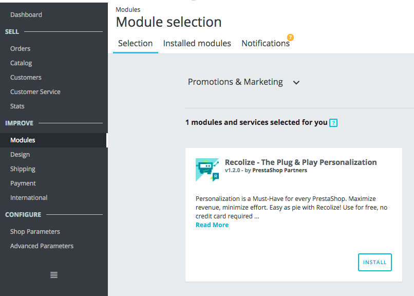 Easy Installation of Recolize Module in PrestaShop
