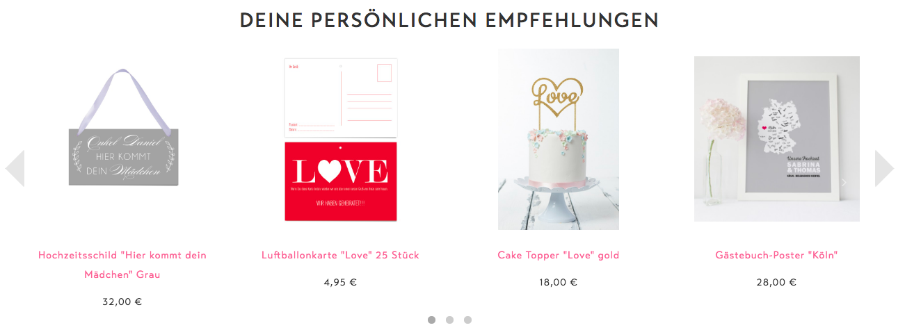 Design-Grusskarten Recommendation Widget Example