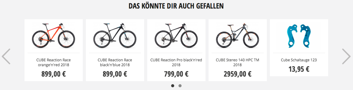 RABE Bike Recommendation Widget Beispiel